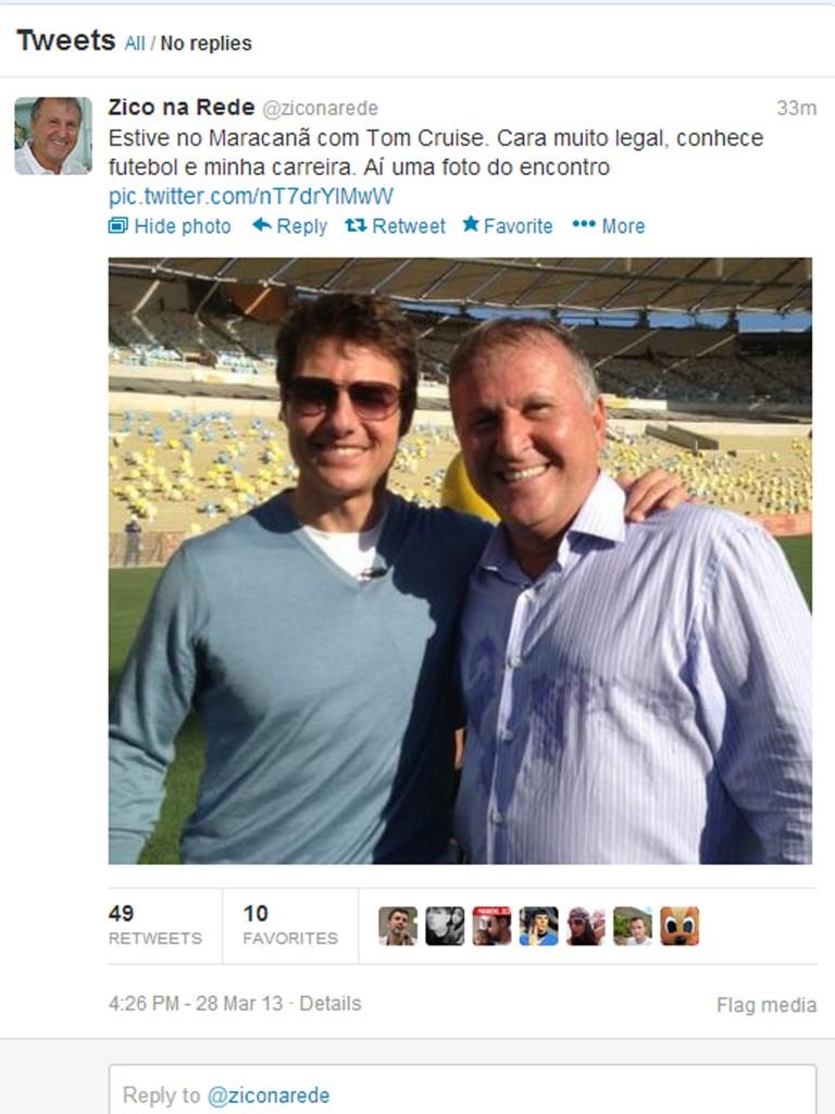 Zico posta foto ao lado de Tom Cruise no gramado do Maracanã